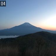 UTMF レース中に撮った夕陽に染まる 富士山